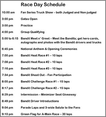 Race Day Schedule